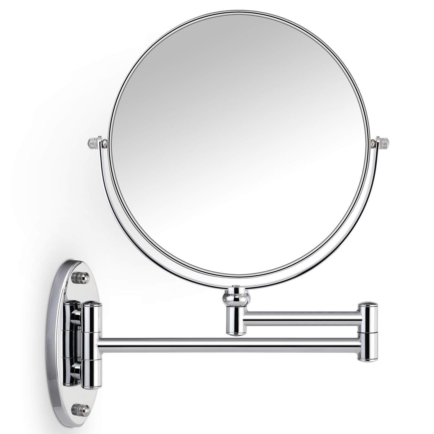 Miusco 10X Magnifying Two Sided Wall Mount Makeup Mirror, 8 inch, Round, Chrome