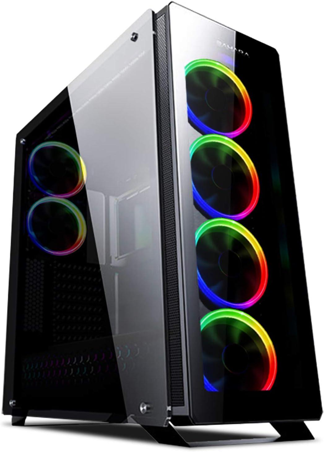 Sahara P75 Black W/ 6 x Pirate ARGB Ventilador de Vidrio Templado ...