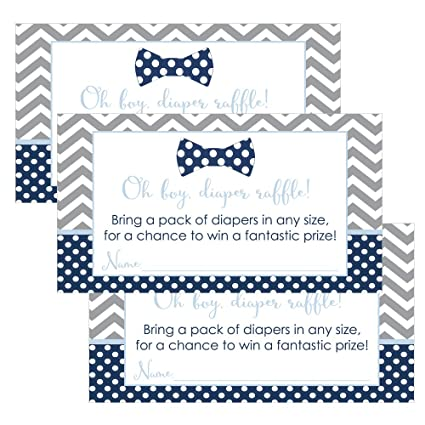 Amazon Com Bow Tie Baby Shower Diaper Raffle Cards For Boys Pack Of