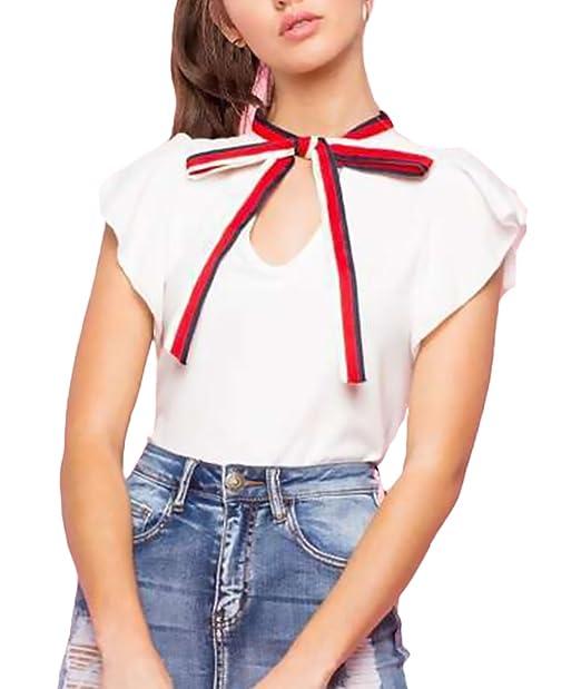 Tops Mujer Verano Elegantes Blancas Manga Corta con Lazo Fashion Casual Bonita Camiseta Blusas T Shirt Dama Ropa Señora Moda Fiesta: Amazon.es: Ropa y ...