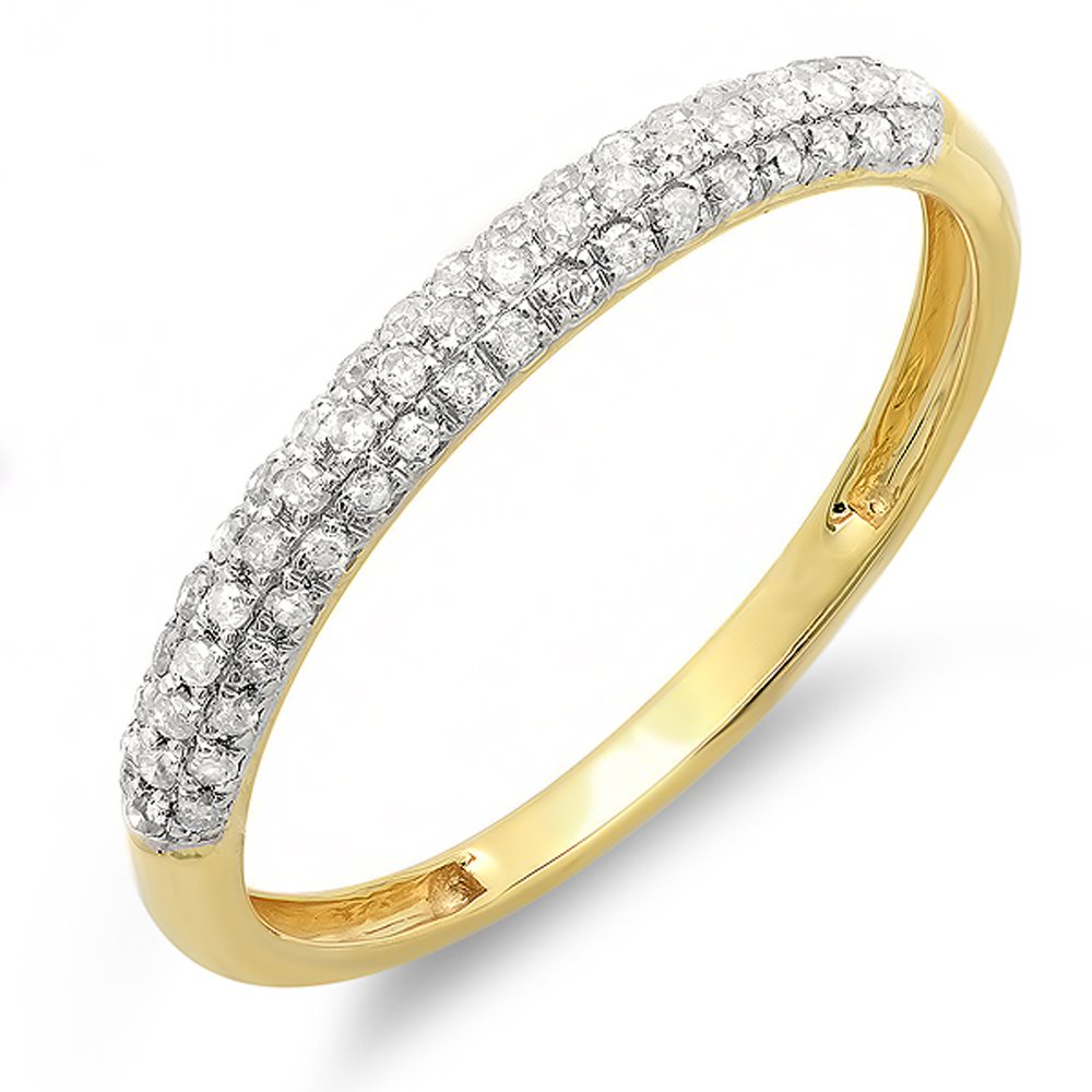 0.25 Carat (ctw) 10k Yellow Gold Round White Diamond Pave Anniversary Stackable Band 1/4 CT (Size 8)