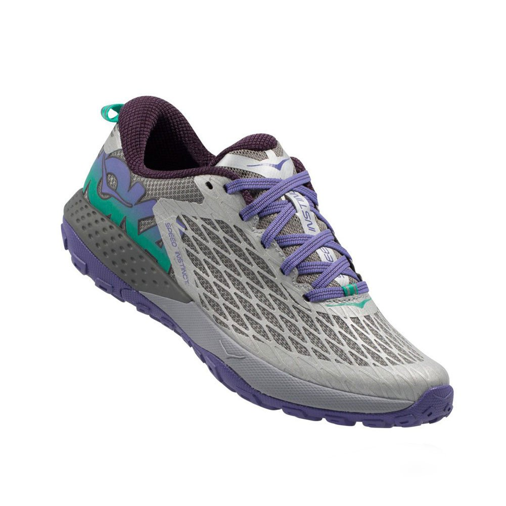 Hoka One One Speed Instinct Trail Running Sneaker Shoe - Grey/Corsican Blue - Womens - 6