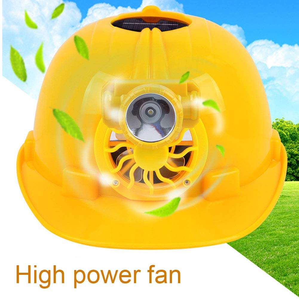 steeOttpe Solar Power Cool Construction Hard Hat Adjustbale Safety Helmet with Solar Powered Cooling Fan for Outdoor Workplace Protective Cap Hard Hat Yellow