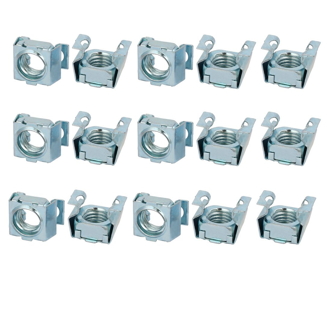 sourcingmap® 15pcs M12 Carbon Steel Captive Cage Nut Silver Tone for Server Shelf Cabinet a17092500ux0028