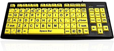 USB Teclado de Alta Visibilidad Letras Mayúsculas/Fácil de ...