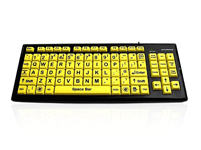 HiVis Monster keyboard, Yellow Keys, Black Upper Case