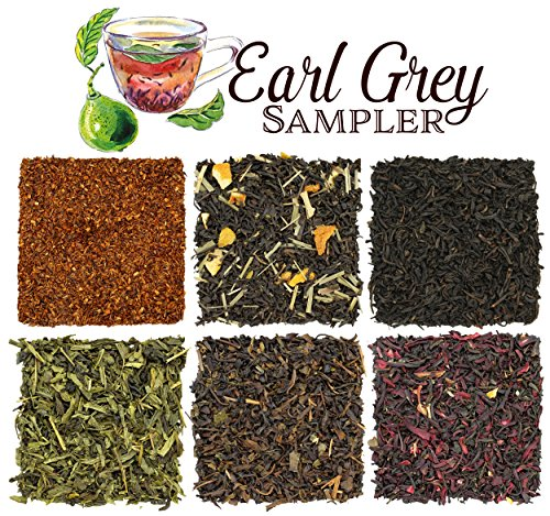 (Loose Leaf Earl Grey Tea Sampler with Six Varieties of Earl Gray Tea including Classic Black, Russian, French, Oolong, Rooibos Herbal & Pan-Fried, Makes 120+ Cups of Tea)