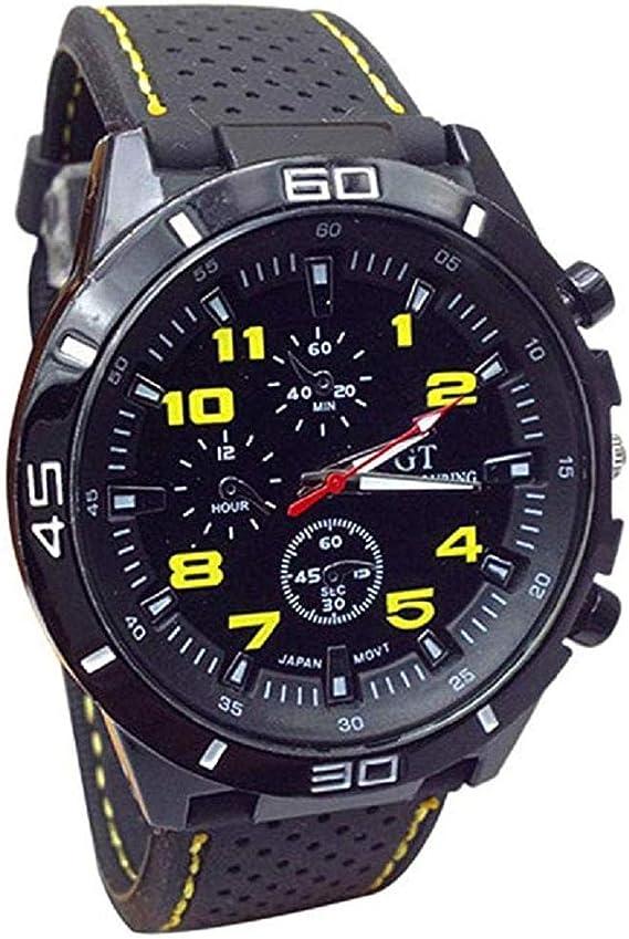 Reloj de Cuarzo Unisex para Hombre para Mujer, Reloj análogo de Moda único analógico, Relojes liquidación con Estuche de dial Redondo, Banda de Silicona cómoda (Amarillo): Amazon.es: Relojes