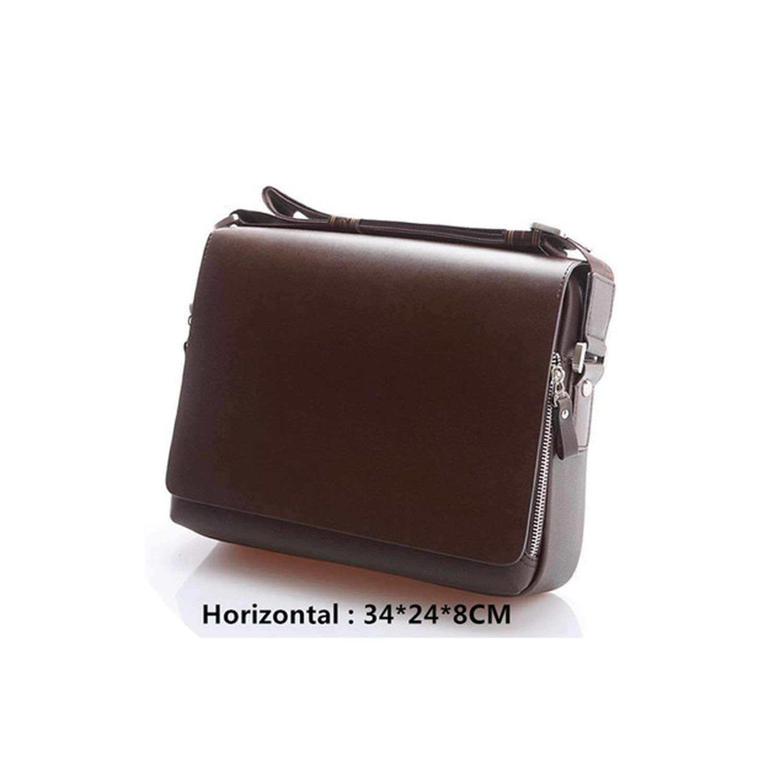 Bag Men Messenger Bags Leather Crossbody Bag Small Handbag Male Business Shoulder Bag,Brown 23X25X8Cm