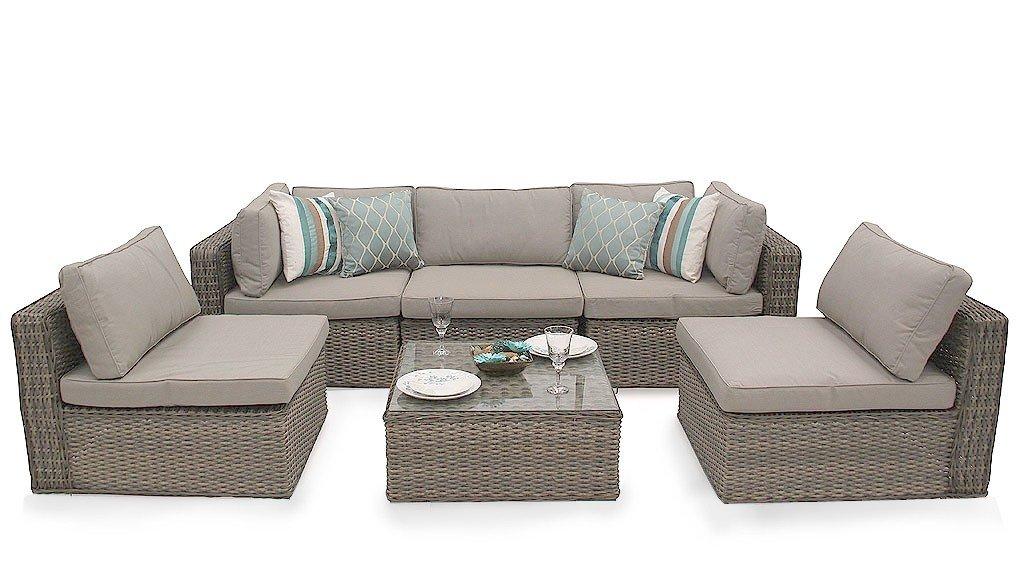 Amazon.de: Ascot Rattan Garten Möbel Modular Sofa Sofa Set - Natur ...