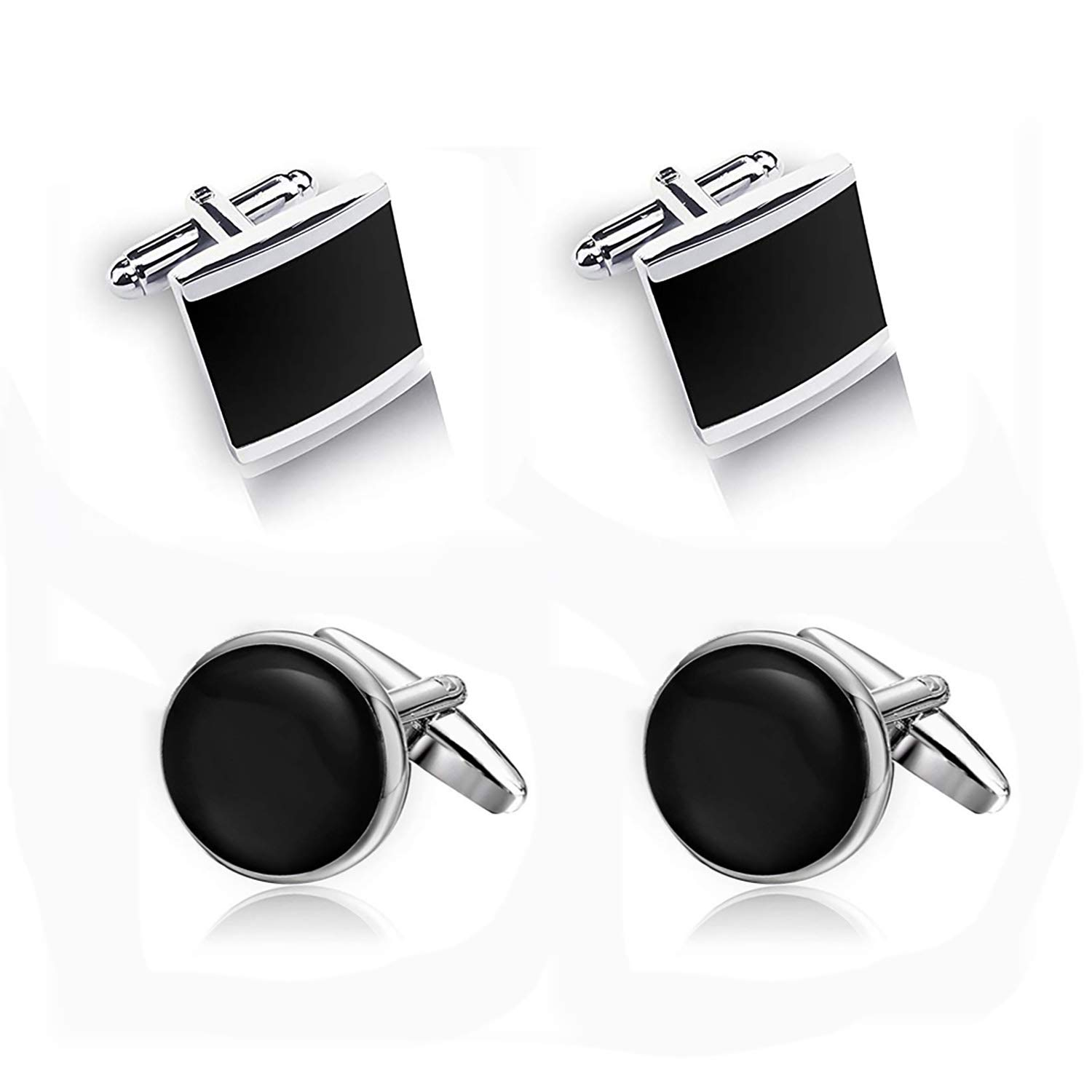 Luxury Tie Bar Clip Cufflinks Sets Gifts for Mens Boys-Timeless Design-Classic and Fashionable Necktie Bar Clips Cufflink Set Wedding Business (Gold, Silver) Necktie Bar Clips Sets Fashion Mens Boys Wedding Business Gifts( Silver MAX