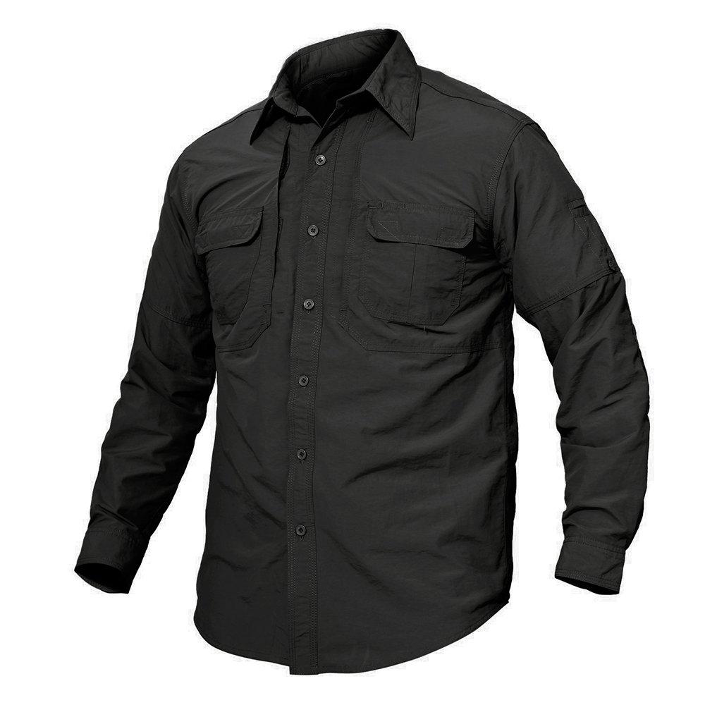 TACVASEN Men's Cheap Casual Nylon Quicking Dry UV Protection Long Sleeve Shirt Black