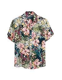 Coupondeal Mens Ethnic Short Sleeve Casual Printing Hawaiian Shirt Blouse T-shirt(Light Green,M)