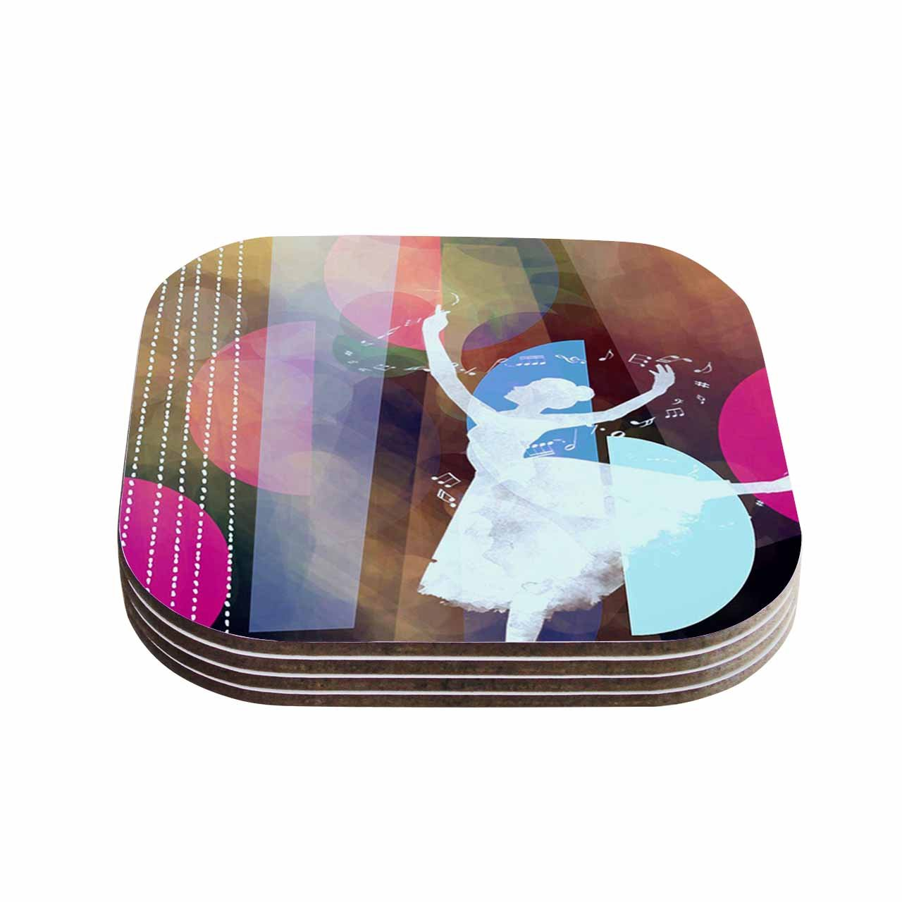 Set of 4 KESS InHouse AlyZen MoonshadowPINK BALLET Geometric Coasters 4 x 4 Multicolor
