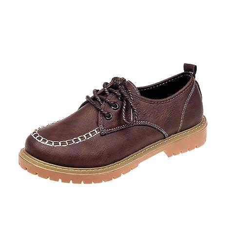 ❤ Zapatos con Cordones Planos de Color sólido para Mujer, Zapatos de Mujer Zapatos Planos de Moda con Cordones de Cuero hasta el Tobillo Absolute: ...