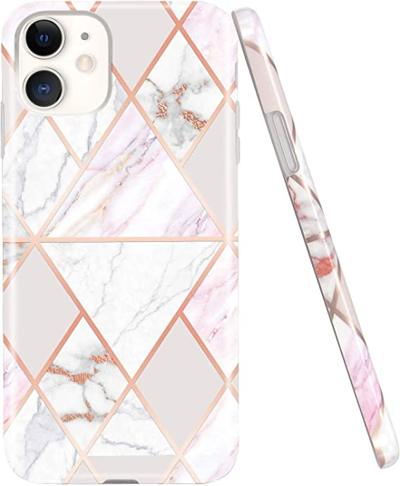 Amazon Com Jaholan Iphone 11 Case Shiny Rose Gold Geometric Marble Design Clear Bumper Tpu Soft Rubber Silicone Cover Phone Case For Iphone 11 6 1 Inch 2019 White Pink
