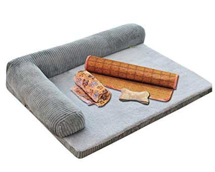 GUOCU Suministros para Mascotas Sofá Cama Rectangular con Cojín Color Sólido Lavable Cuatro Temporadas Disponibles Cama