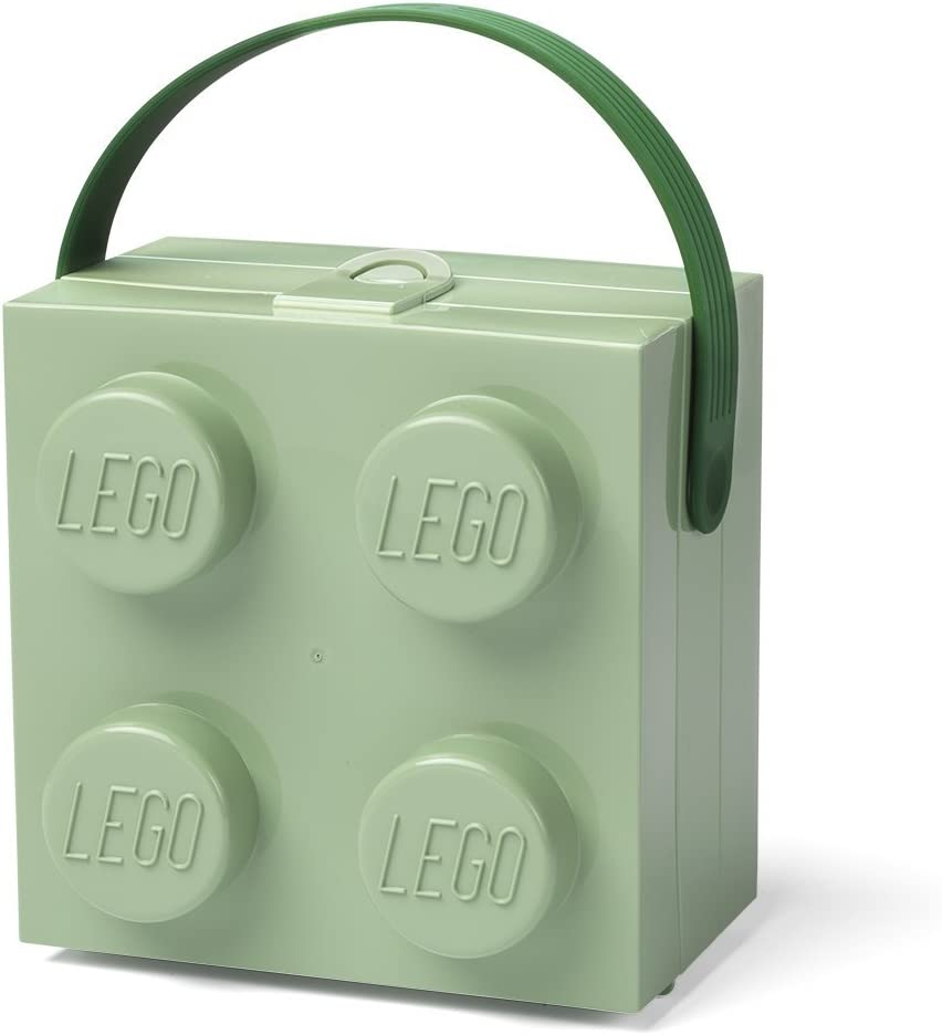 LEGO Lunch Handle, Portable Storage Box, Sand Green, One Size
