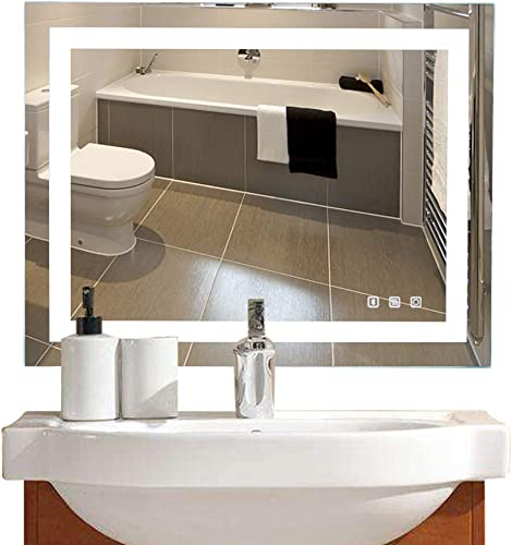 36 28in. Dimmable Led Illuminated Bathroom Mirror with Bluetooth Speaker Led Lighted Wall Mounted Bathroom Vanity Mirror with Touch Button Anti-Fog Hangs Vertically or Horizontally