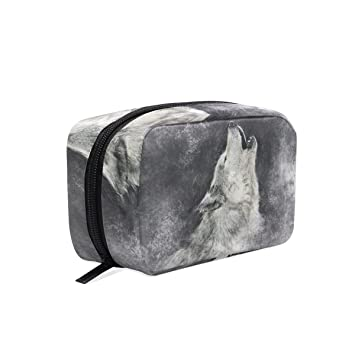 86b0d8fa4a12 Amazon.com : MAPOLO Howling Wolf Handy Cosmetic Pouch Clutch Makeup ...