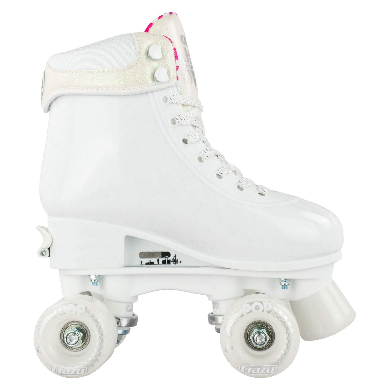 Crazy Skates Glitter POP Adjustable Roller Skates for Girls and Boys | Size Adjustable Quad Skates That Fit 4 Shoe Sizes | White (Sizes jr12-2) by Crazy Skates (Image #8)