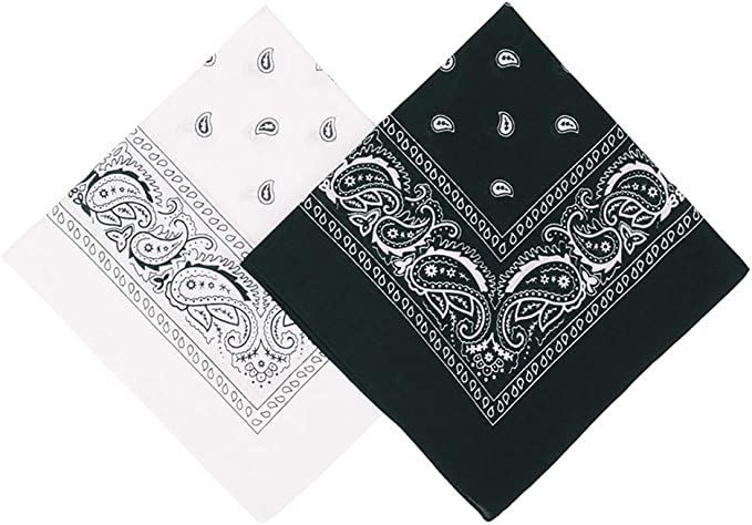 "Umo Lorenzo 2 Color Pack Bandanas for Men & Women, 21 x 21"" - 100% Cotton Bandana + Multi-use Bandanas"