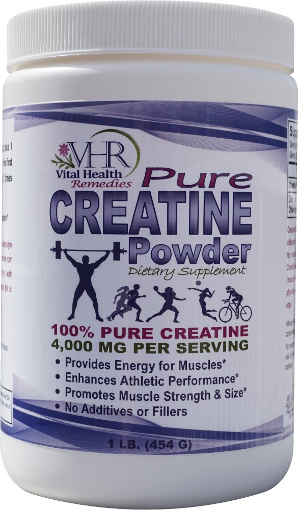 CREATINE POWDER - 4,000 mg per serving - Pure - Natural - No Additives, Fillers or Preservatives. 1 LB powder.