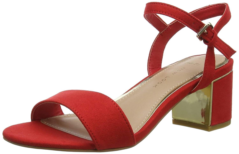 TALLA 36 EU. New Look Wide Foot Steel, Zapatos de tacón con Punta Abierta para Mujer