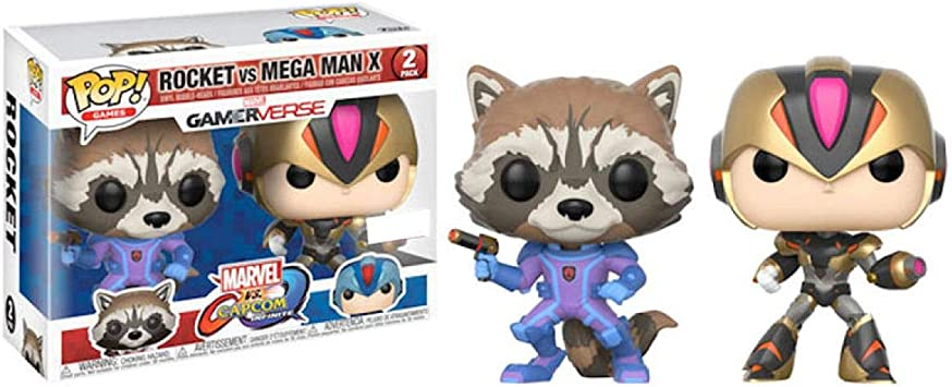 Marvel- Figura Pop Pack Cap MARV Rocket VS Megaman X, Multicolor ...