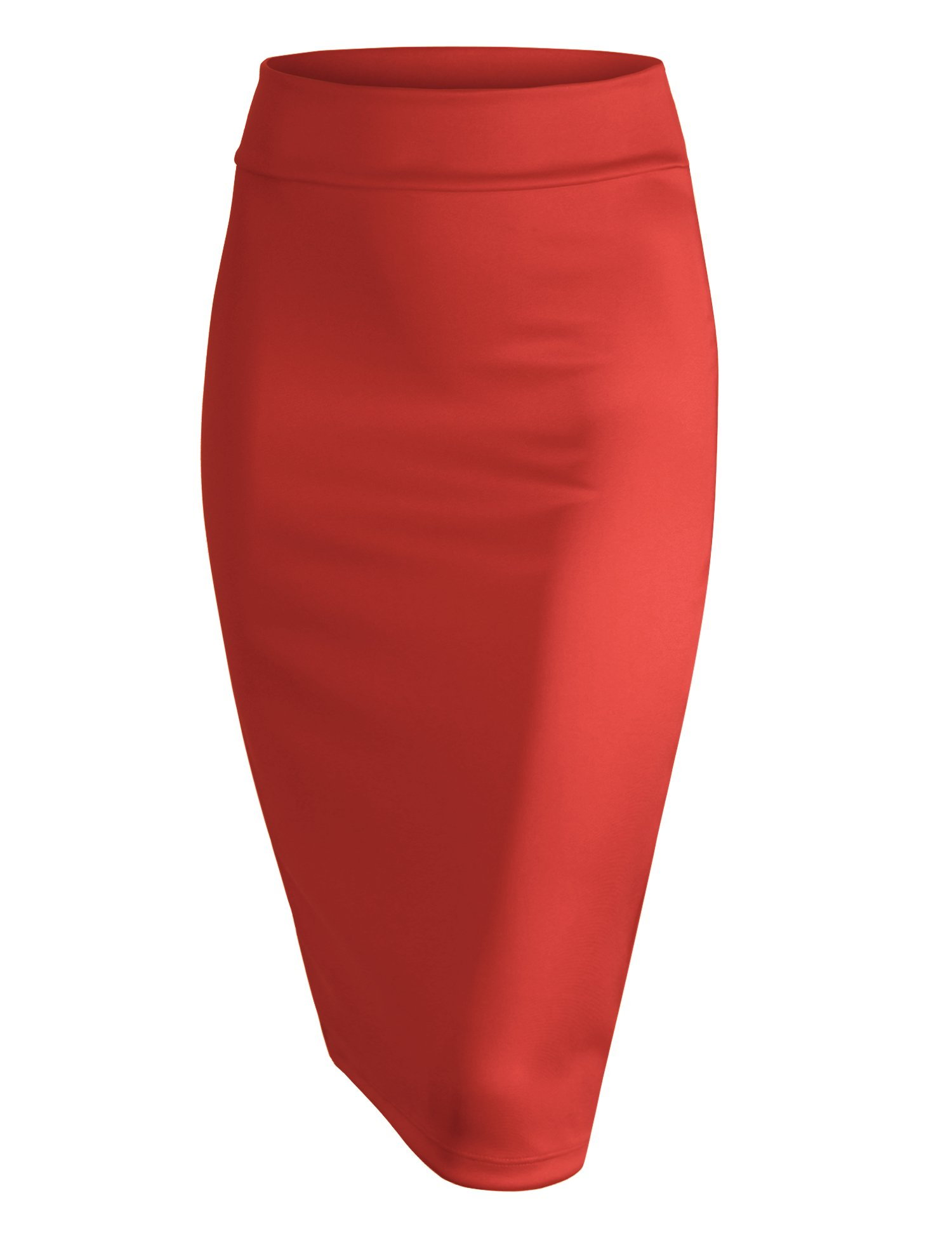 Made By Johnny WB700 Womens Scuba Midi Skirt M Coral by Made By Johnny
