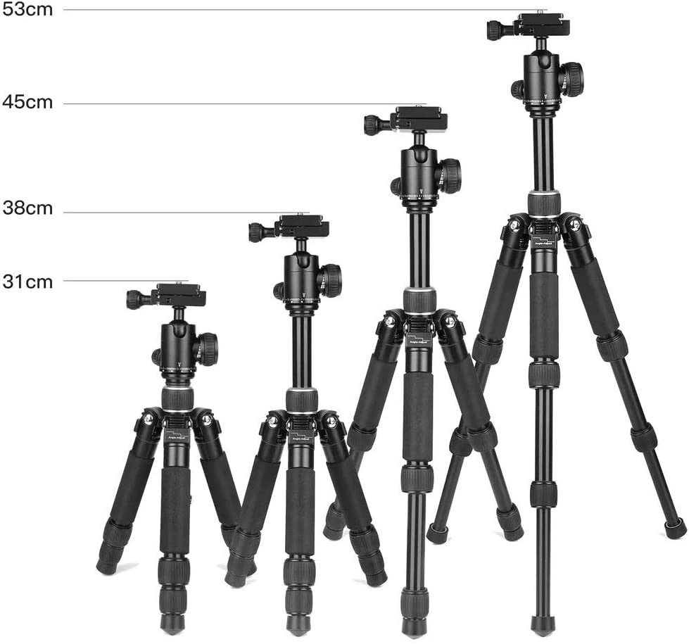Portable Photography Tripod Portable Cameras Tripod 3 Sections Foldable Telescopic Tripod with Ball Head for DSLR Cameras Color : Black, Size : One Size
