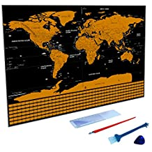 Scratch off World Map - Personalized Travel Tracker Map with US states All Country Flags - Rub Off Coin Scratchable Wall Poster Deluxe Edition Exclusive Gift & Decor Large-sized Black
