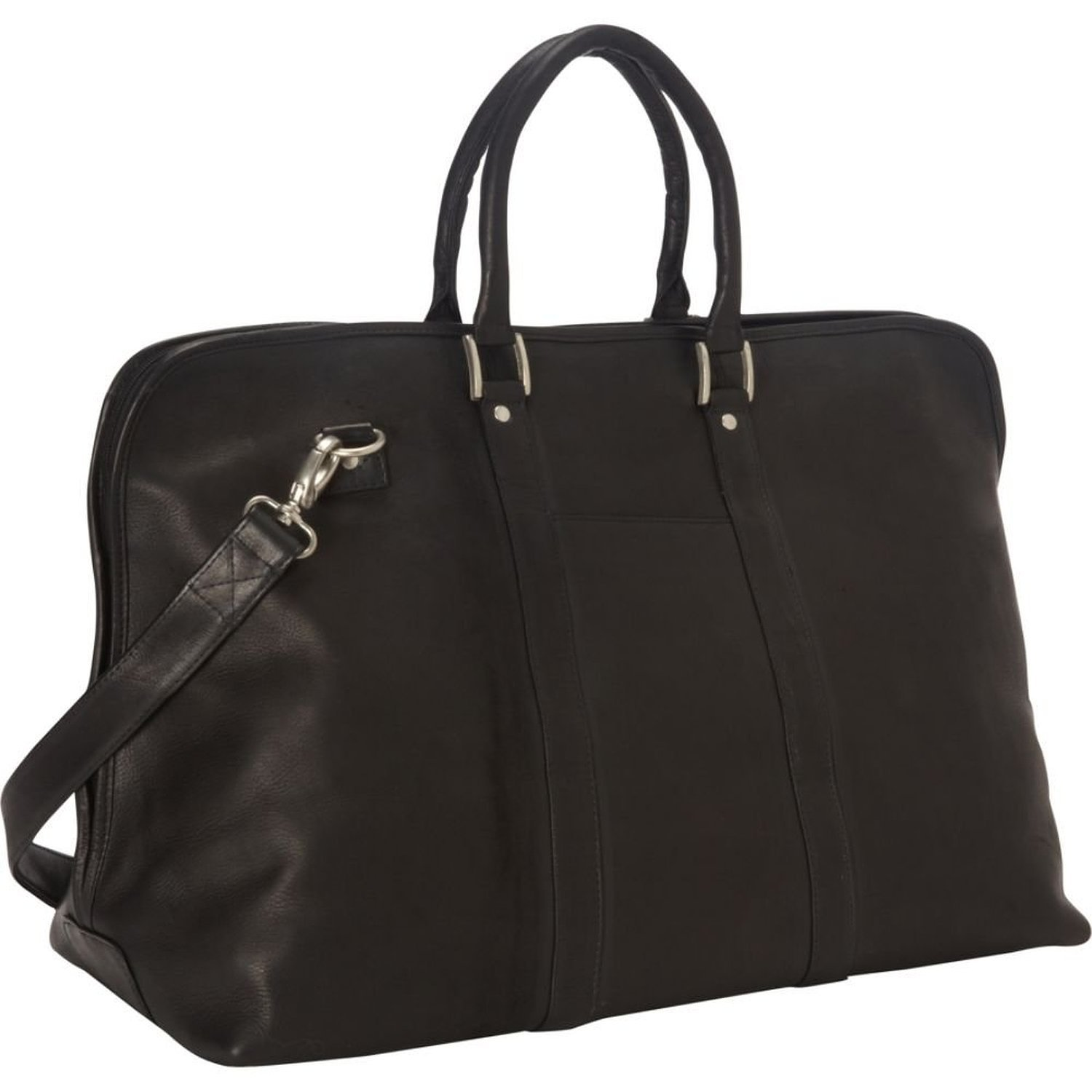 Royce Leather Luxury Travel Carryon Colombian Leather Duffel Bag, Black, One Size