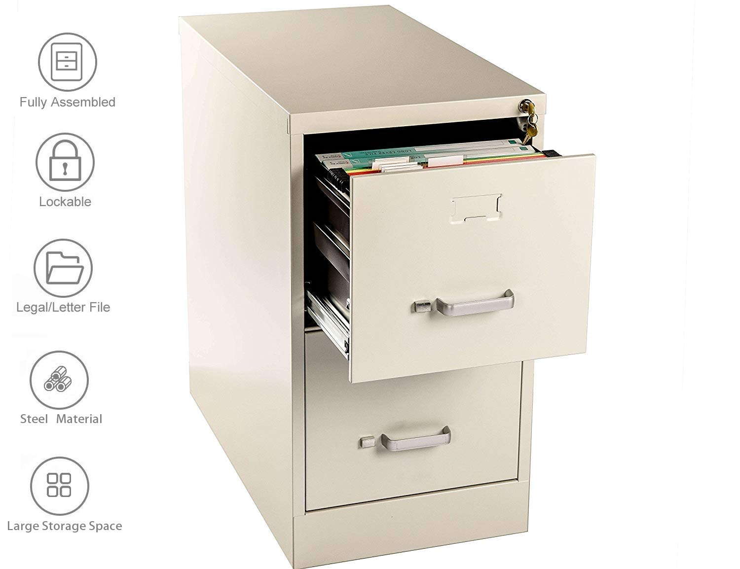 Henlus 2 Drawer Flie Cabinet with Lock Fully Assembled Metal Filing Cabinets for Home Office(Putty) (Putty, 2 Drawer) by Henlus (Image #1)