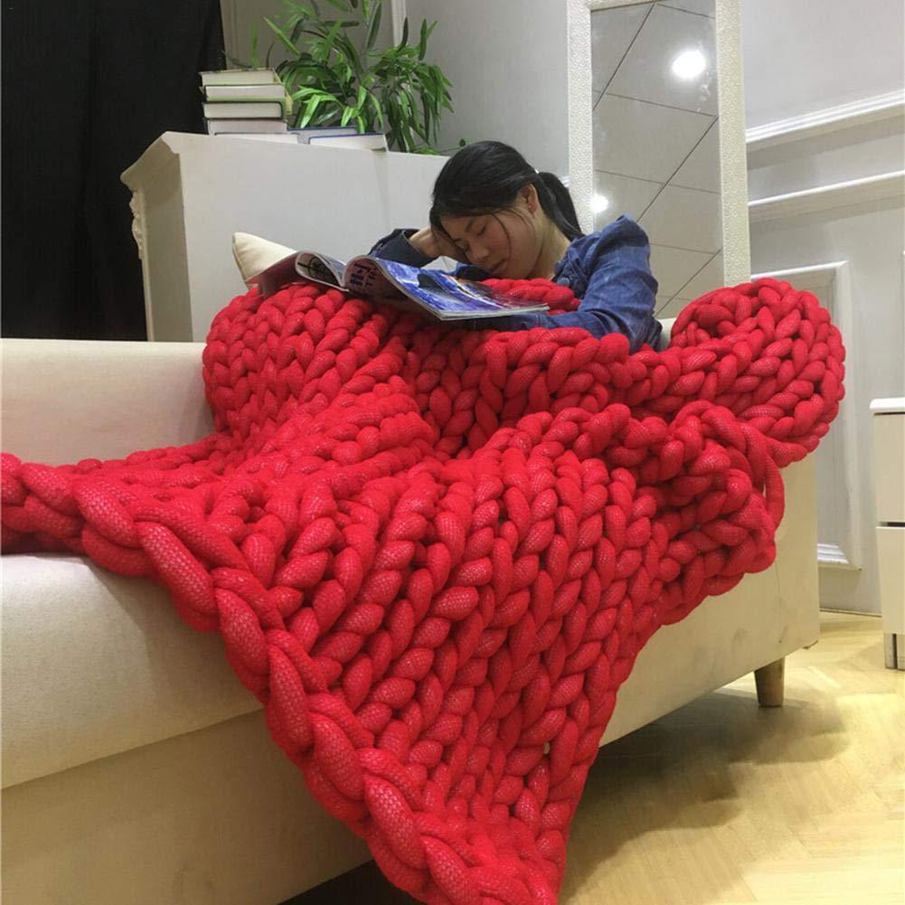 Red Yunt Yarn Blanket Airconditioner Quilt Sofa Blanket