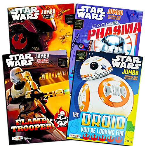 4 Pack Star Wars The Force Awakens Jumbo Double Sided Tear & Share Coloring Activity Books Featuring Star Wars Scenes, & Movie Characters for Kids with Various Artwork Cover Designs, 11 x 8 Inches]()