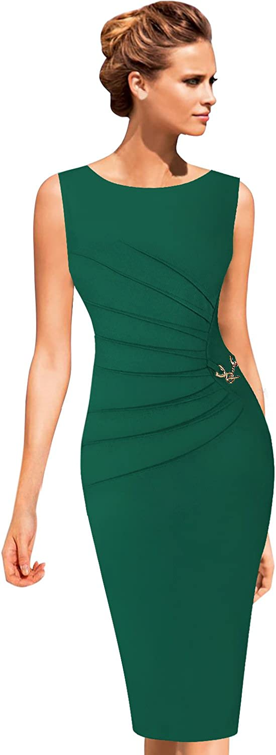 VFSHOW Womens Elegant Ruched Work Business Office Cocktail Sheath Dress