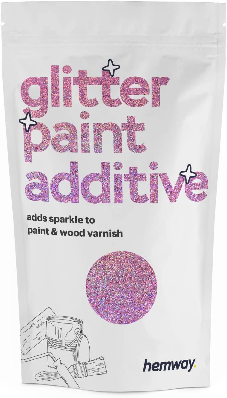 Hemway (Pink Holographic) Glitter Paint Additive Crystals 100g / 3.5oz for Acrylic Latex Emulsion Paint - Interior Exterior Wall, Ceiling, Wood, Varnish, Dead Flat, Matte, Gloss, Satin, Silk