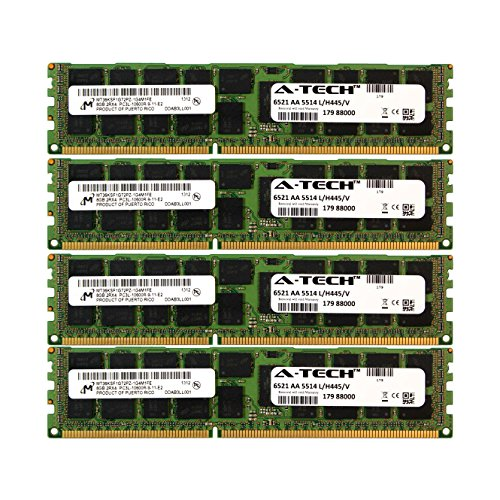 (A-Tech Micron 32GB Kit 4X 8GB PC3-10600 1.35V for Dell PowerEdge R820 A2626093 R910 T410 R415 A2862069 M610 R510 R710 A2862074 T610 T710 A3721482 C1100 C2100 C6145 C6100 C6105 R320 C6220 Memory RAM)