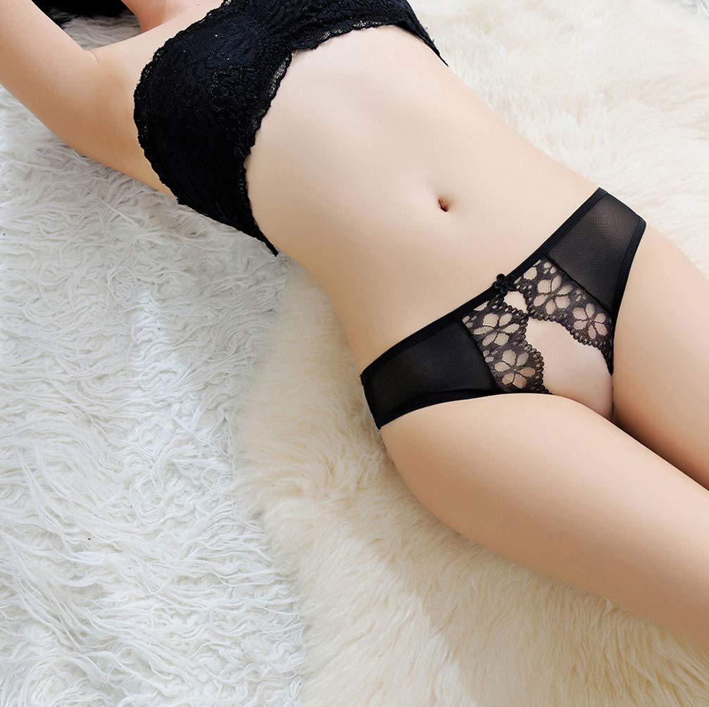 Women's Sexy Lace Crotchless Panties Thong Mesh G-String Underwear Lingerie (Black)