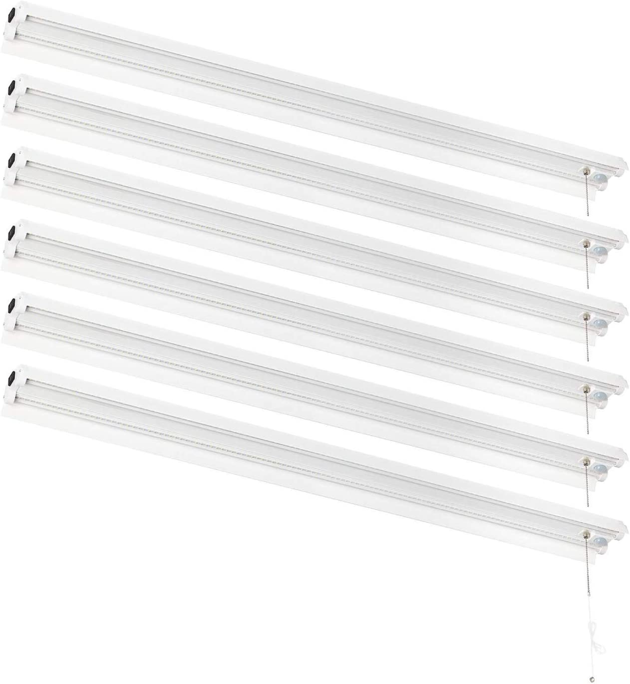 AmazonCommercial Linkable Motion Sensing LED Utility Shop Light with Bypass Switch, 4-Foot, 4500 Lumens, 40 Watt, Energy Star and ETL Certified   Daylight, 6-Pack