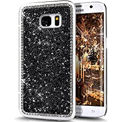 Galaxy S7 Case,ikasus Beauty Luxury Shiny Sparkle Bling Bling Glitter Handcraft Crystal [Rhinestone Diamond] Hard Plastic Plated Slim Case Cover Full Cover Protective Case for Samsung Galaxy S7,Black