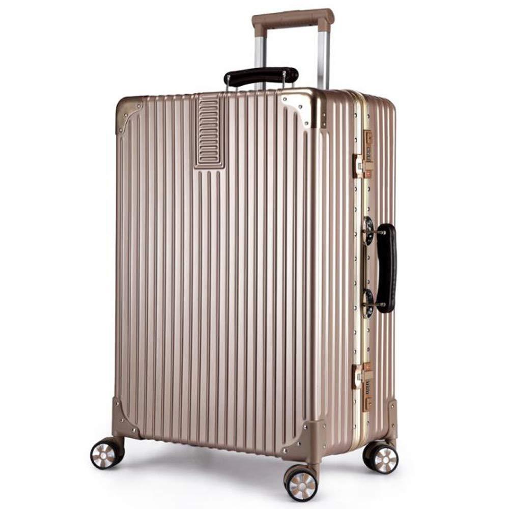 スーツケース荷物トロリーアルミフレーム4ホイールスーパー軽量absハードシェル旅行キャリーキャリーハンド荷物を運ぶ 38*27*60cm, Champagne gold B07SKVKL88 Champagne gold