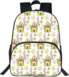 Oobon Kids Toddler School Waterproof 3D Cartoon Backpack, Spring Forest with Toadstool House Cartoon Pattern Kids Decor Fictional Fairytale Image Art, Fits 14 Inch Laptop