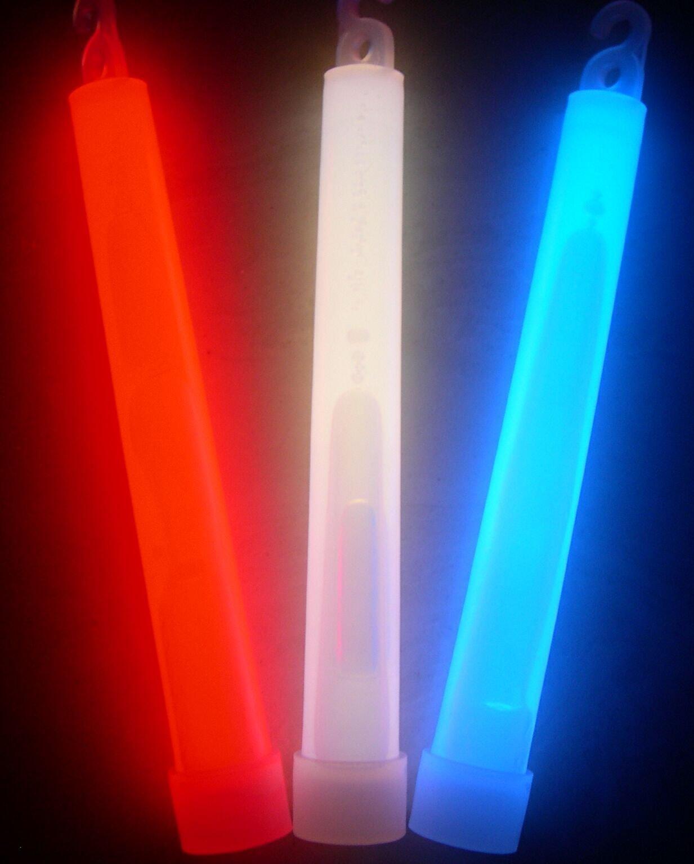 Glow Sticks Bulk Wholesale, 75 6'' Industrial Grade Light Sticks, Bright Red/White/Blue Patriotic Colors, Glow 12-14 Hrs, Glow Stick with 3-year Shelf Life, GlowWithUs Brand