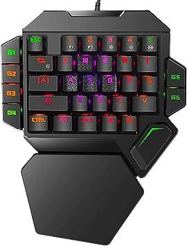Teclado mecánico para juegos RGB con una sola mano,Teclado de juego profesional retroiluminado colorido con soporte de reposamuñecas,Teclado mecánico ...