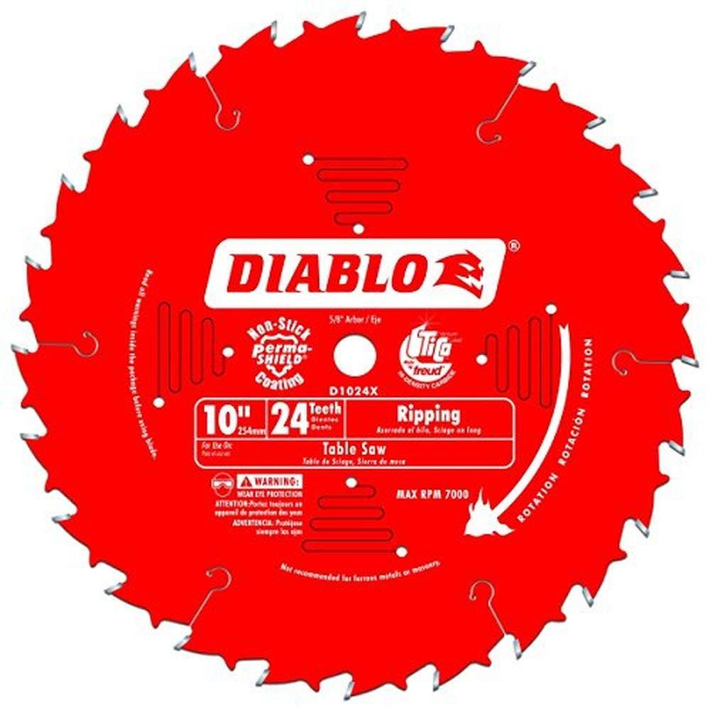 """Freud D1024X Diablo 10"""" 24-Tooth ATB Ripping Saw Blade 5/8"""" Arbor"""