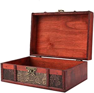 FTVOGUE Vintage Wooden Storage Box Large Size Book Jewelry Storing Storage Organizer Treasure Chest Home Decor(#2: Lotus)