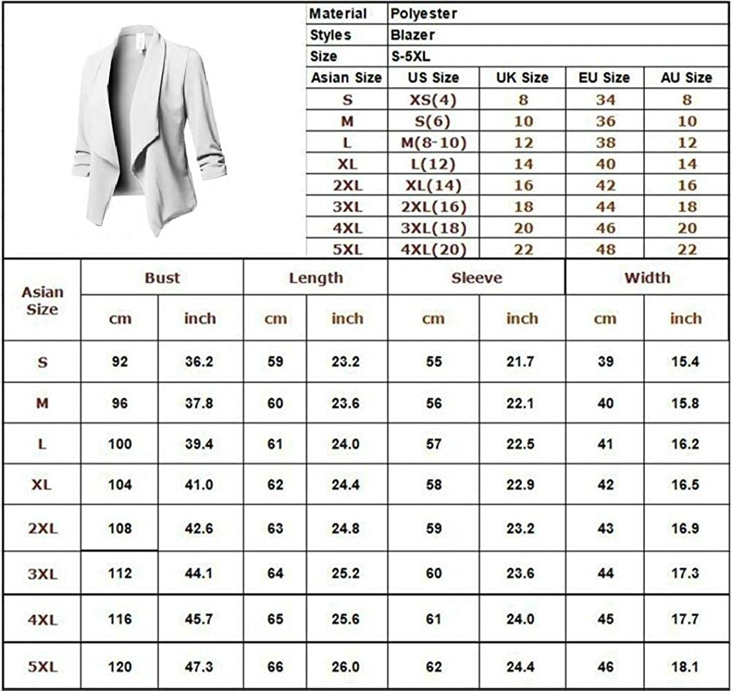 White Women Casual Blazer Slim Suit Business Blazer Open Front Cardigan Coat with Long Sleeve Work Office Jacket Cardigan Outwear XL