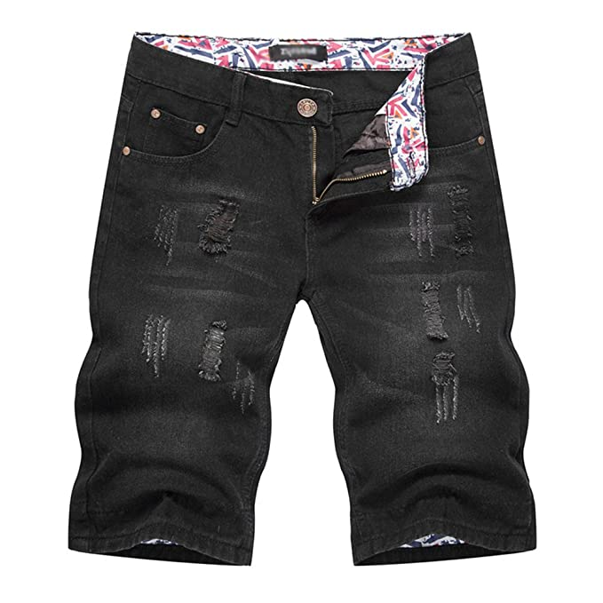 Anyu Corto Denim Jeans Hombre Agujeros Shorts De Mezclilla